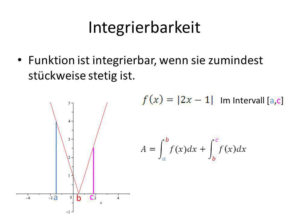 Integrierbarkeit Funktion ist integrierbar, wenn sie zumindest stückweise stetig ist. Im Intervall [a,c]